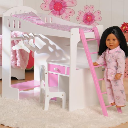 Constructive Playthings Today's Girl Doll Loft Bed 8-Piece Playset - For 18