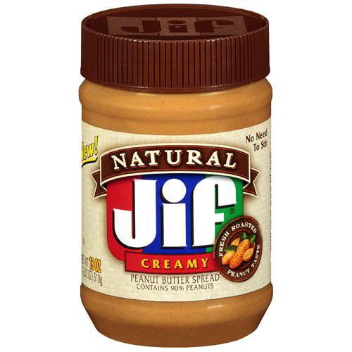 Jif Natural Creamy Peanut Butter, 18 oz