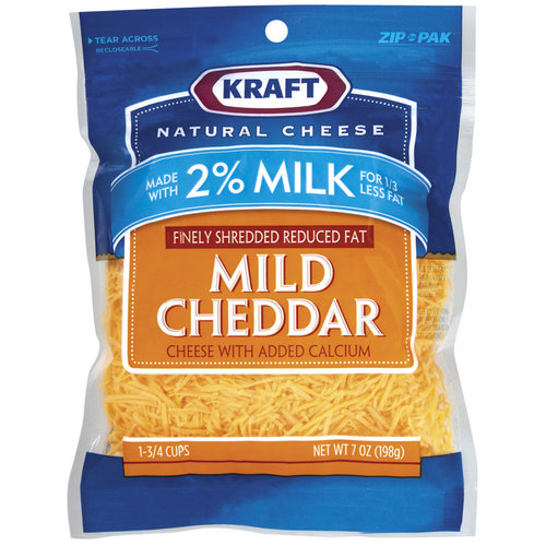 Kraft Natural Cheese Mild Cheddar Finely Shredded Reduced Fat With Added Calcium Shredded Cheese, 7 oz