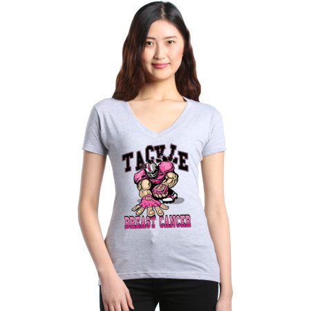 Shop4Ever Women's Tackle Football Player Breast Cancer Awareness Slim Fit V-Neck T-Shirt ()