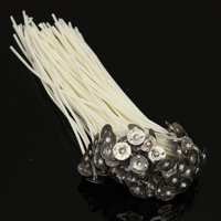 "100Pcs 20cm/8"" Candle Wicks Pre Waxed PreTabbed Cotton Core With Sustainer DIY Gift"