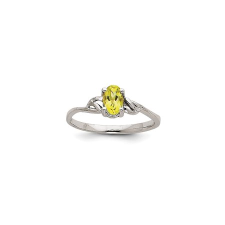 Solid 14k White Gold Simulated Peridot Simulated Birthstone Ring (4mm) - Size 4