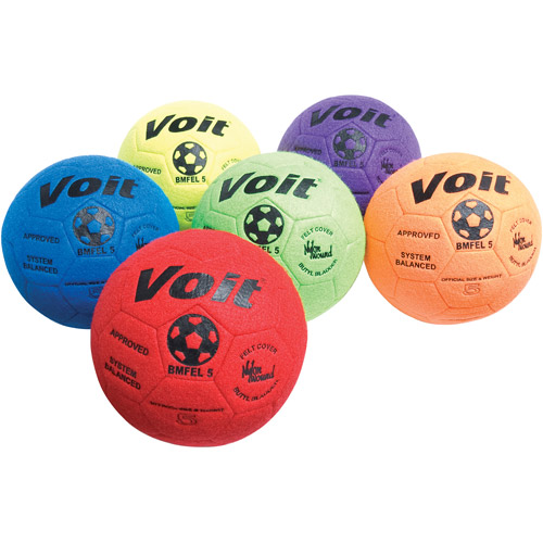 Indoor Felt Soccer Ball 6-Piece Prism Pack, Size 4