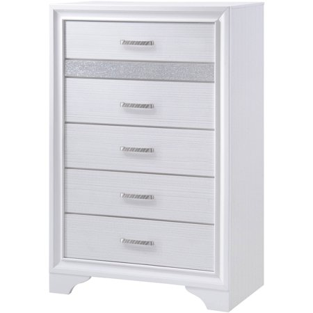 Coaster Company Miranda 5-drawer Chest with Hidden Jewelry Tray White and Rhinestone Coaster Bedroom Furniture