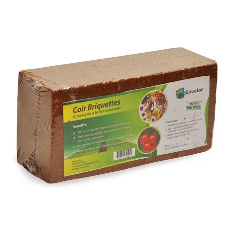 Envelor Home and Garden Organic Coco Coir Growing Medium Coconut Fiber Potting Coco Fiber Mulch Coco Briquette 1.5 lb Coir