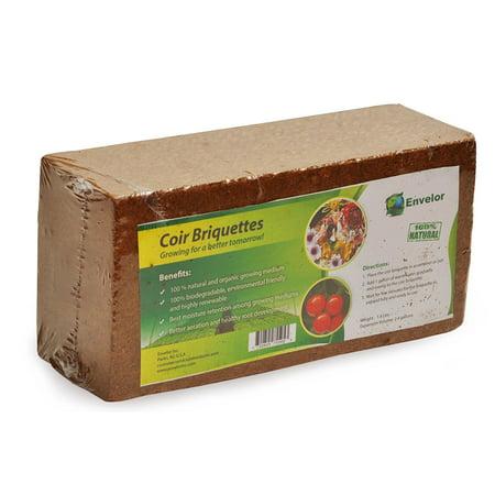 - Envelor Home and Garden Organic Coco Coir Growing Medium Coconut Fiber Potting Coco Fiber Mulch Coco Briquette 1.5 lb Coir Briquette