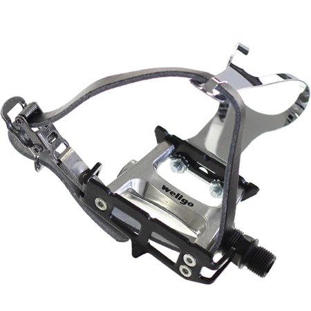 Bike Pedal Clips >> Wellgo Track Fixie Bike Pedals Toe Clips And Leather Straps