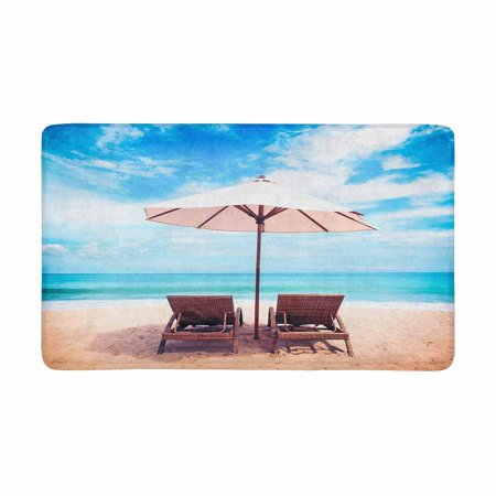 MKHERT Summer Tropical Hawaiian Beach Chairs on Sandy Beach Near The Sea Doormat Rug Home Decor Floor Mat Bath Mat 30x18 inch](Hawaiian Home Decor)