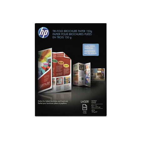 50 Glossy Brochure Sheets (Branded The HP Tri-Fold Laser Brochure Paper, 40lb, 97 Bright, 8 1/2 x 11, White, 150 Sheets Pack of 1 [Qty Discount / wholesale price] )