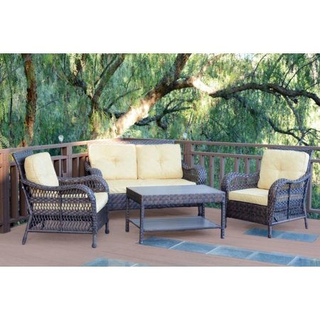 4 Piece Espresso Resin Wicker Outdoor Patio Conversation Furniture Set Yellow Cushions