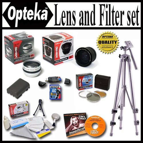 Opteka Ultimate Accessory package For The Canon Powershot G7 G9 Package Includes 0.35 Wide Angle Lens, 2.2X Telephoto Lens, Piece Filter Kit, Spare Batery, 8GB Memory Card, Tripod, Case and Much more