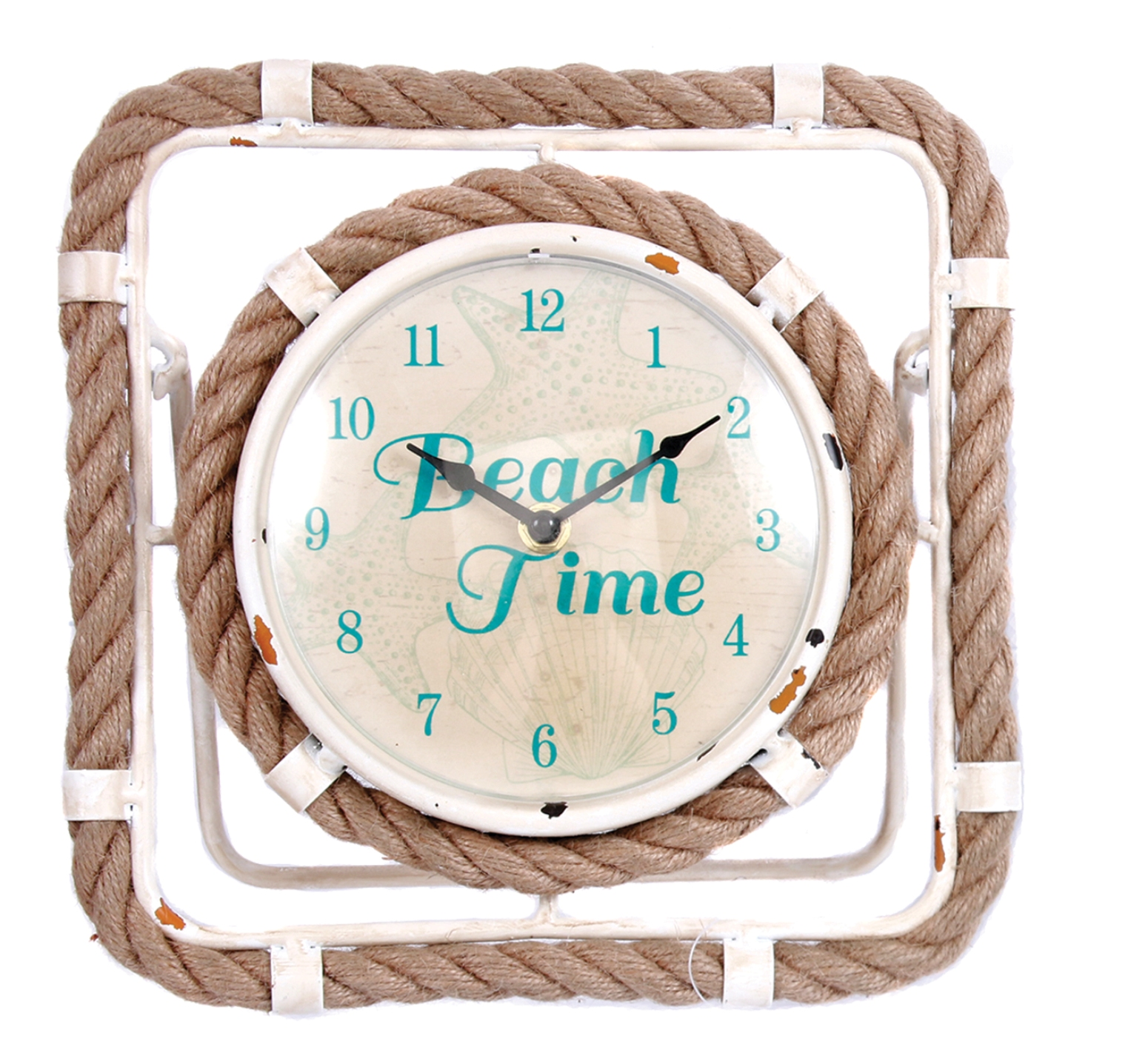 Beach Time Table Clock 10.5 Inch Metal and Jute Rope Battery Operated