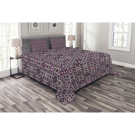 Purple Bedspread Set, Alluring Flowering Nature Circular Geometric Pattern of Floral Composition, Decorative Quilted Coverlet Set with Pillow Shams Included, Violet Beige Black, by Ambesonne