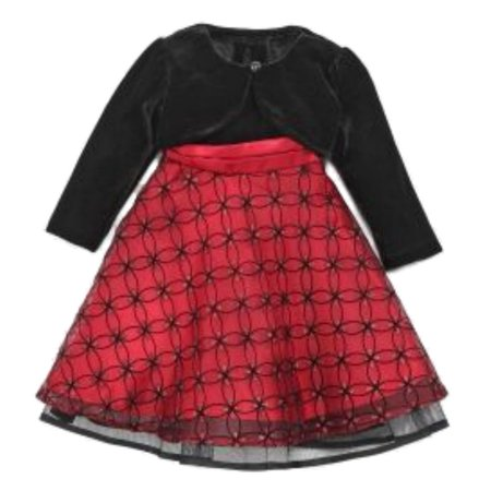 Blueberi Infant Toddler Girl Sparkly Red Sequin Party Dress Holiday Capelet
