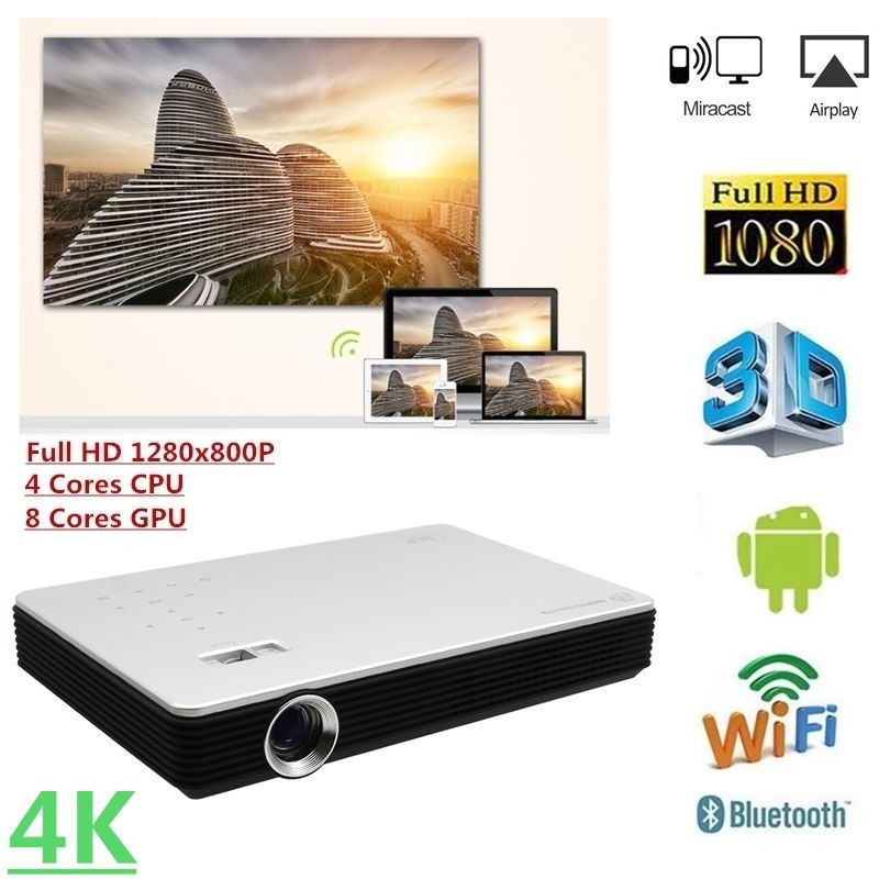 Kingslim Portable LED Movie Projector 4K 1080P HD Mini Home Theater/Cinema Projectors with Tripod 8,000 Lumens DLP Smart Gaming Projector HDMI-Silver