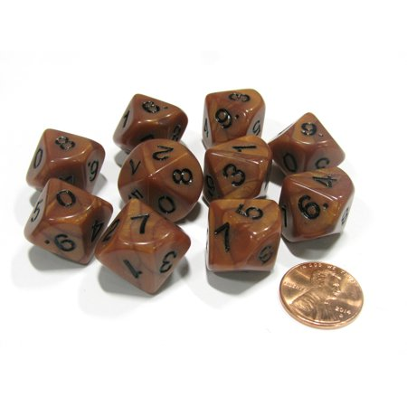 Koplow Games Set of 10 D10 16mm Olympic Pearlized Dice - Bronze with Black Numbers #12229