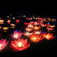 Floating Lotus Lights Wishing Water Lily Candles Light Decorative Floating Candles Lantern for Pool Festival Night - Set of 10