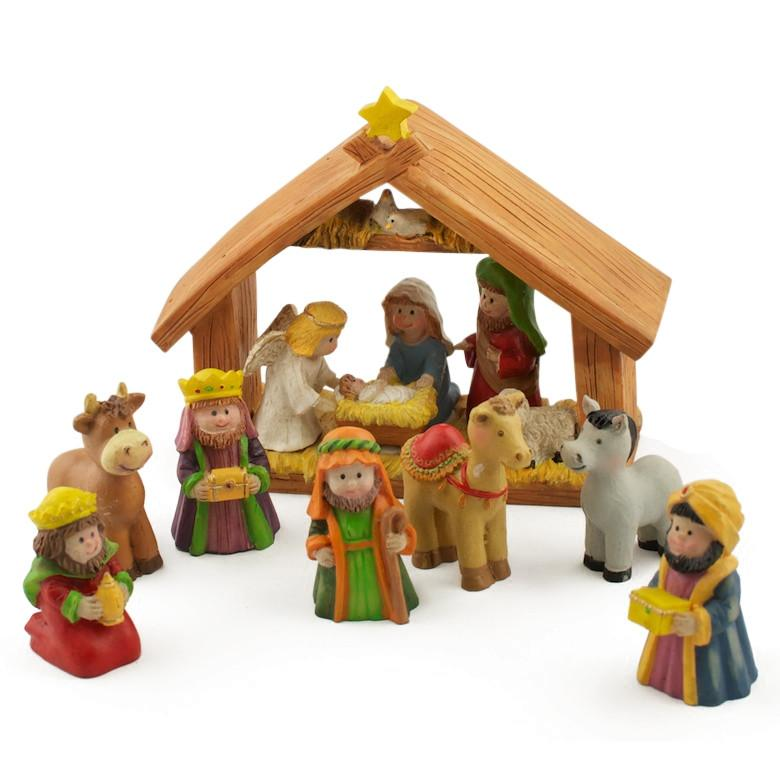 "5"" x 6"" Manger Miniature Nativity Scene Set with 2"" Resin Figurines"