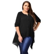 Ladies Long Sleeve Button Down Plus Size Casual Blouse Tunic Shirt