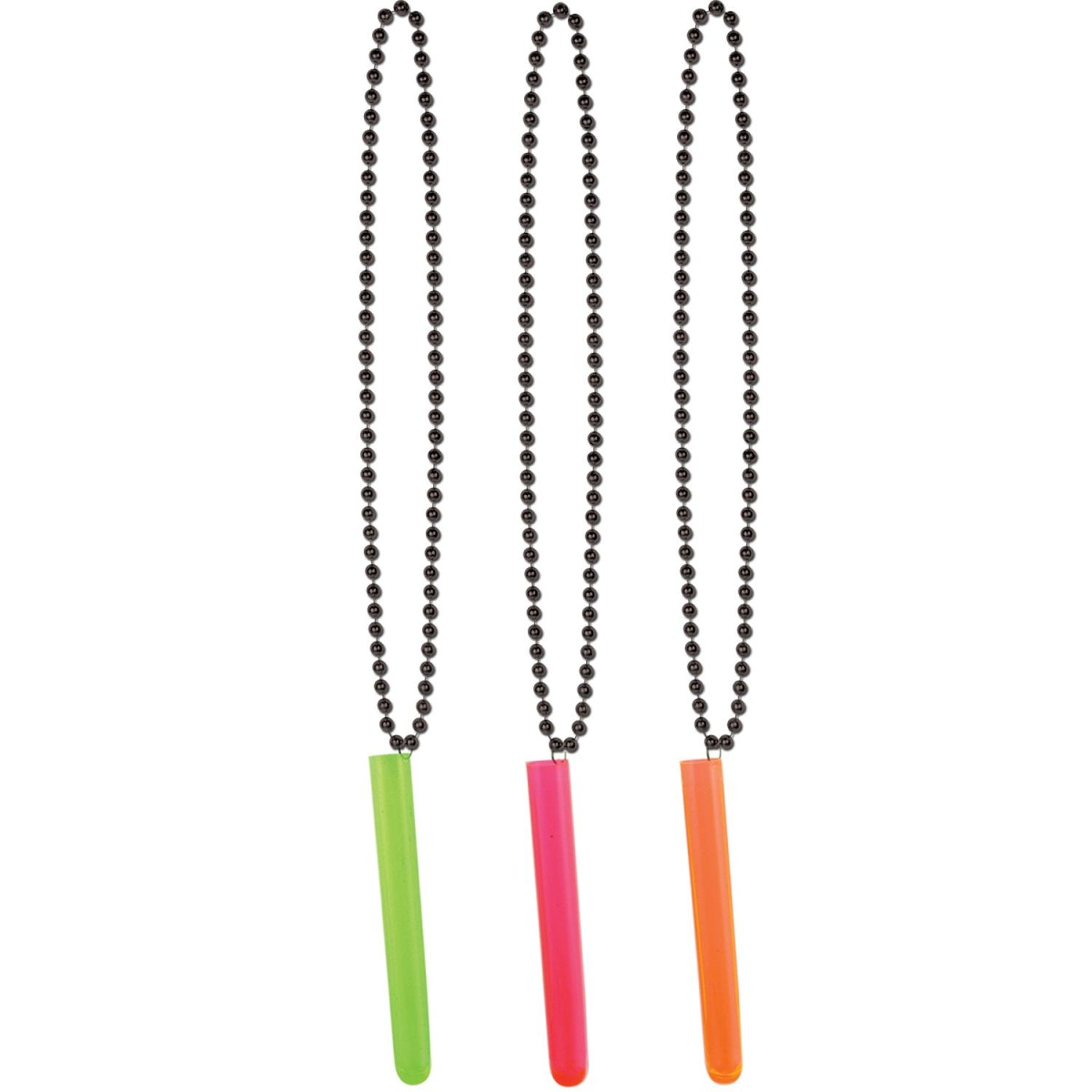 Club Pack of 12 Black Beads with Multi-Colored Neon Test ...
