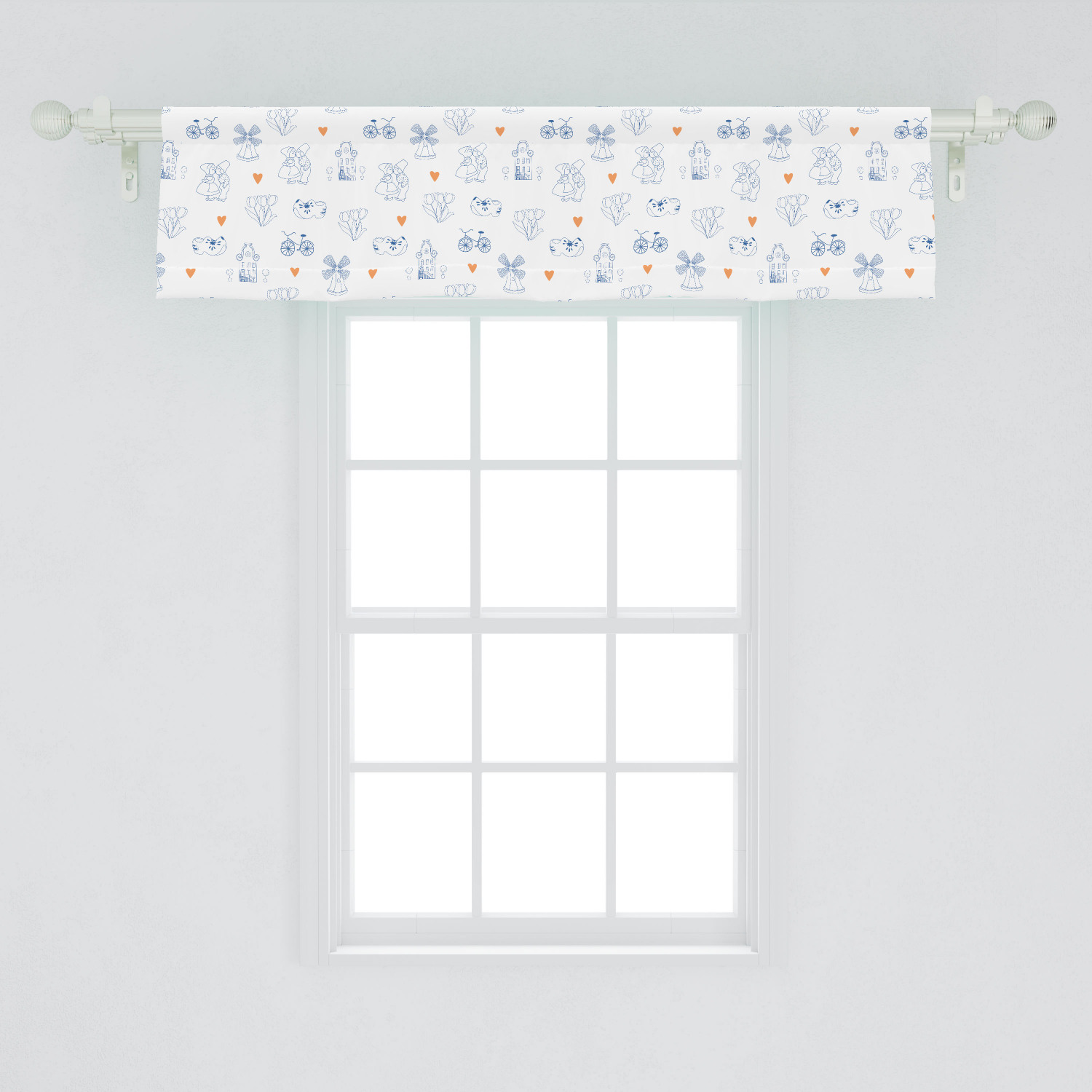 Dutch Window Valance Traditional Holland Culture Elements With Doodle Style Clogs Bicycles Curtain Valance For Kitchen Bedroom Decor With Rod Pocket By Ambesonne Walmart Com Walmart Com