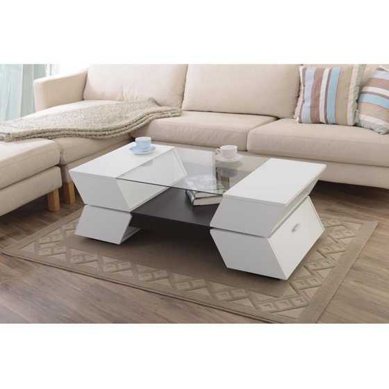 Glass Top Coffee Table Walmart: Furniture Of America Colston Glass Top Contemporary Style