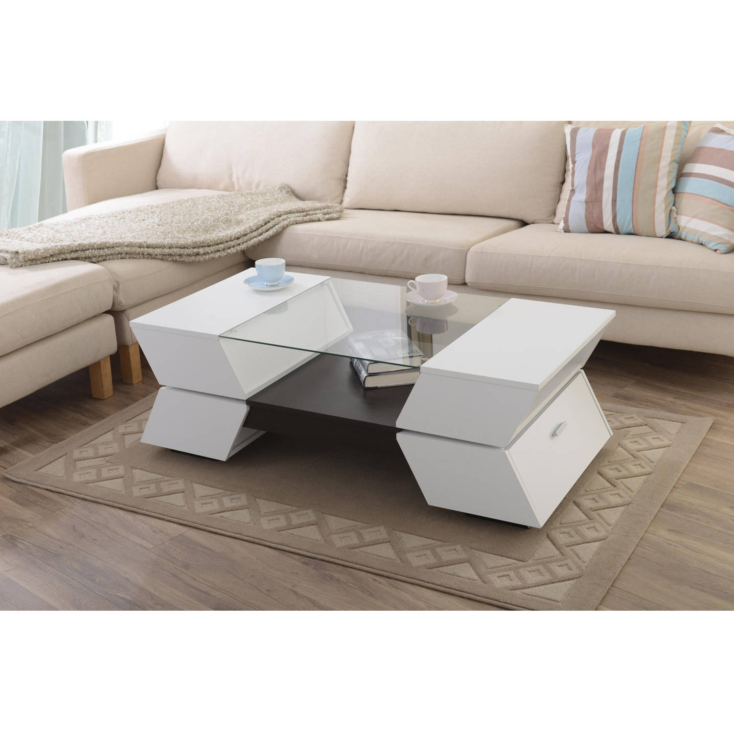 Furniture of America Colston Glass Top Contemporary Style Coffee Table, White