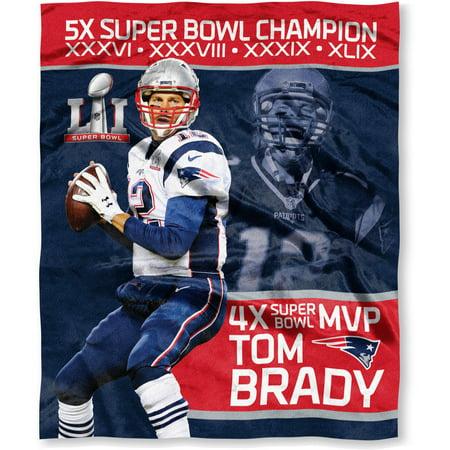 Official National Football League Players Association Super Bowl Li Mvp  Tom Brady  New England Patriots 50  X 60  High Definition Silk Touch Throw