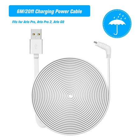 6M/20ft Charging Power Cable Fits for Arlo Pro, Arlo Pro 2, Arlo GO Weatherproof Indoor/Outdoor Flat Cable Aluminium Alloy Micro USB Cable Charging/Power Cord without Plug, 1 Pack (White)