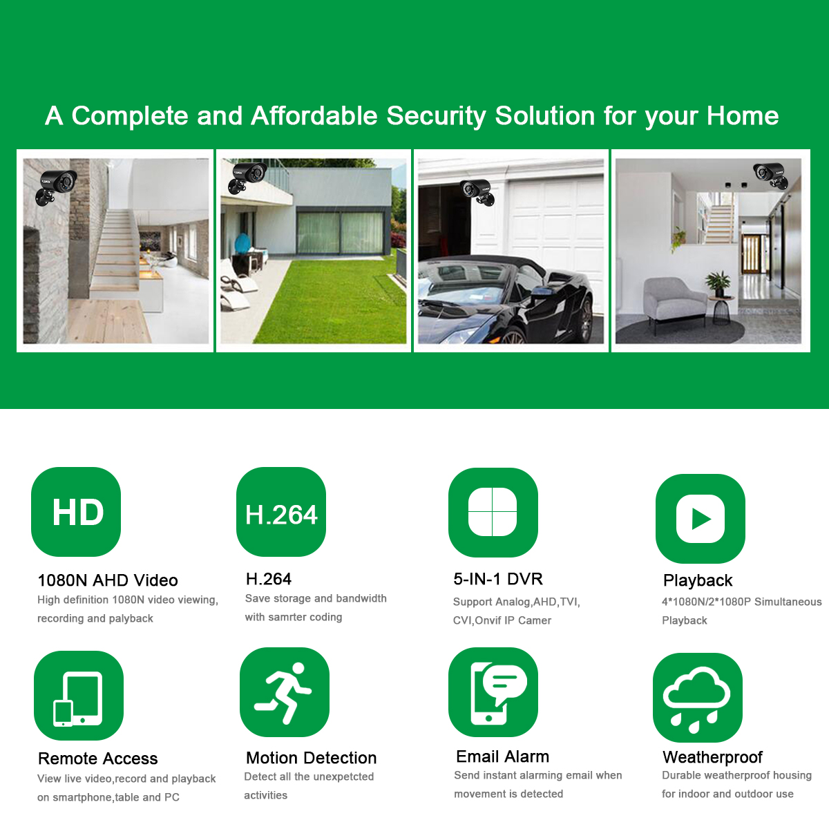 FLOUREON HD1080N Security Camera System for Home Surveillance with 4
