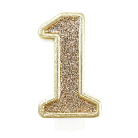 Birthday Party Sparkling Chic Glitter Number Cake Candle - Champagne Gold - #1 - Number 2 Candle