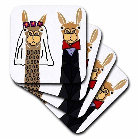 3dRose Funny Cute Llama Bride and Groom Wedding Art - Soft Coasters, set of 8