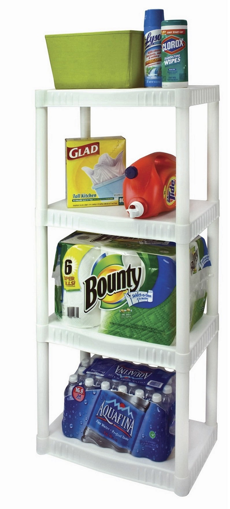 plano 4 tier heavy duty plastic shelves white shelving storage ebay. Black Bedroom Furniture Sets. Home Design Ideas