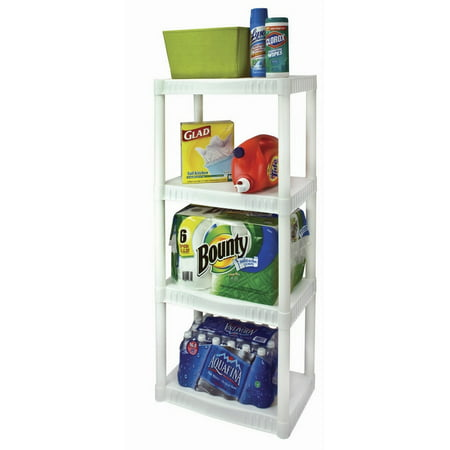 "Plano 22""W x 14""D x 48""H 4-Shelf Shelving Unit, White"