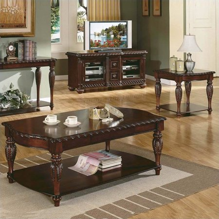 Mahogany Set Coffee Table - Steve Silver Company Antoinette 3 Piece Coffee Table Set in Mahogany Cherry