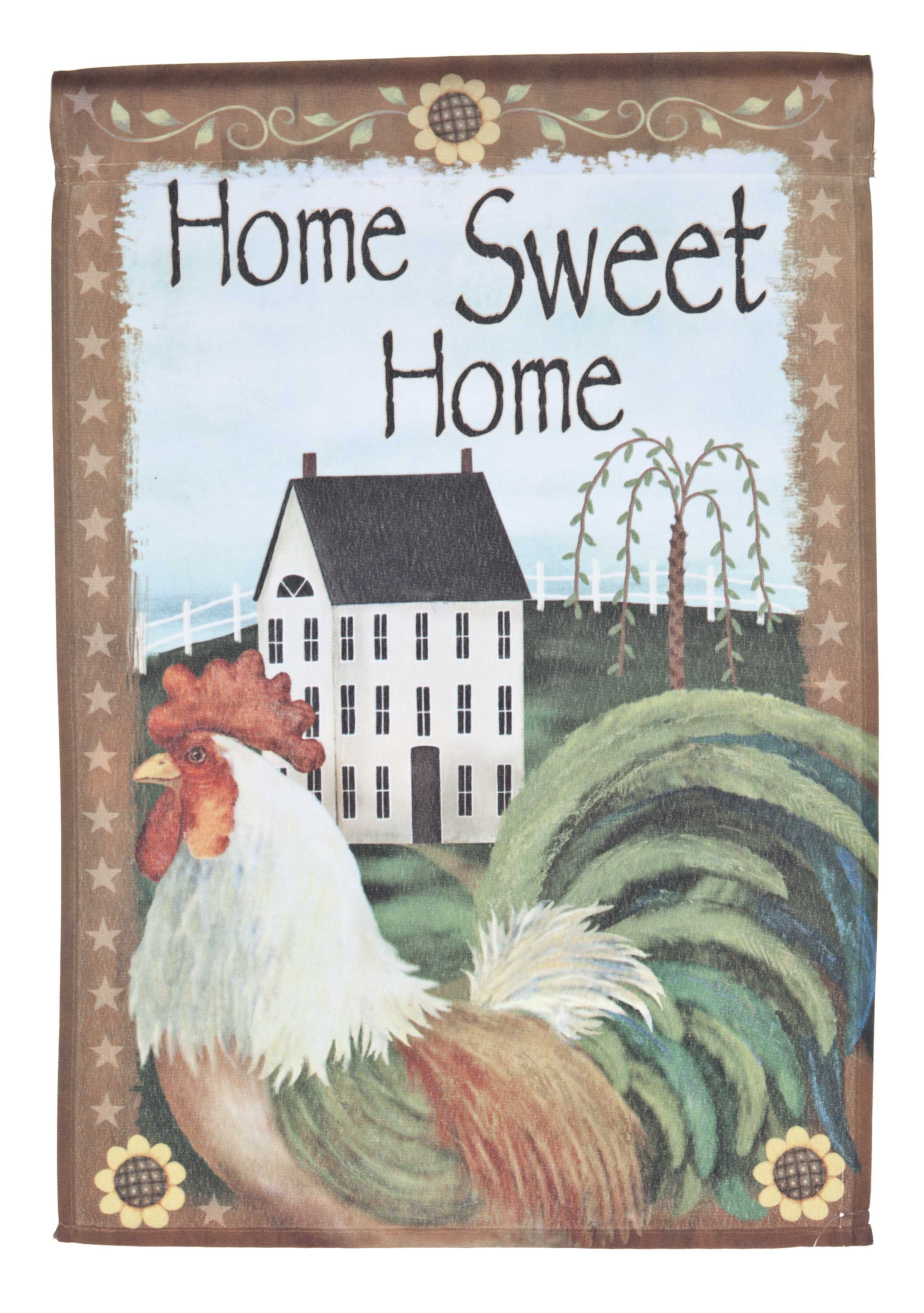 Home Sweet Home Lawn Flag w  Rooster & Cottage by Garden Accents (12 x 18 Inch) by