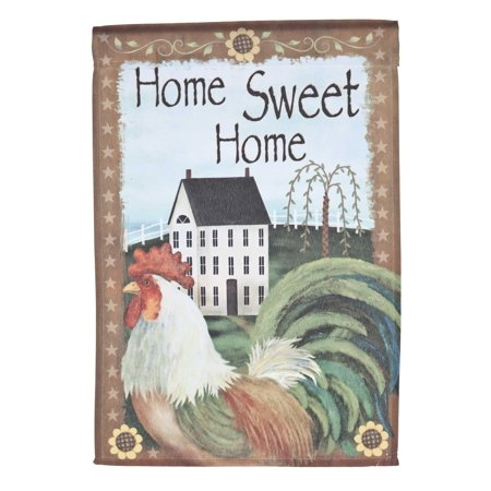 Home Sweet Home Lawn Flag w/ Rooster & Cottage by Garden Accents (12 x 18 Inch) ()