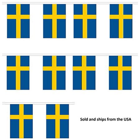 10' Sweden String Flag Party Bunting Has 10 Swedish 6