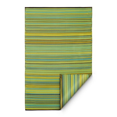 Fab Habitat Reversible Indoor Outdoor Weather Resistant Floor Mat/Rug - Cancun - Lemon & Apple Green (8 ft x 10 ft) ()