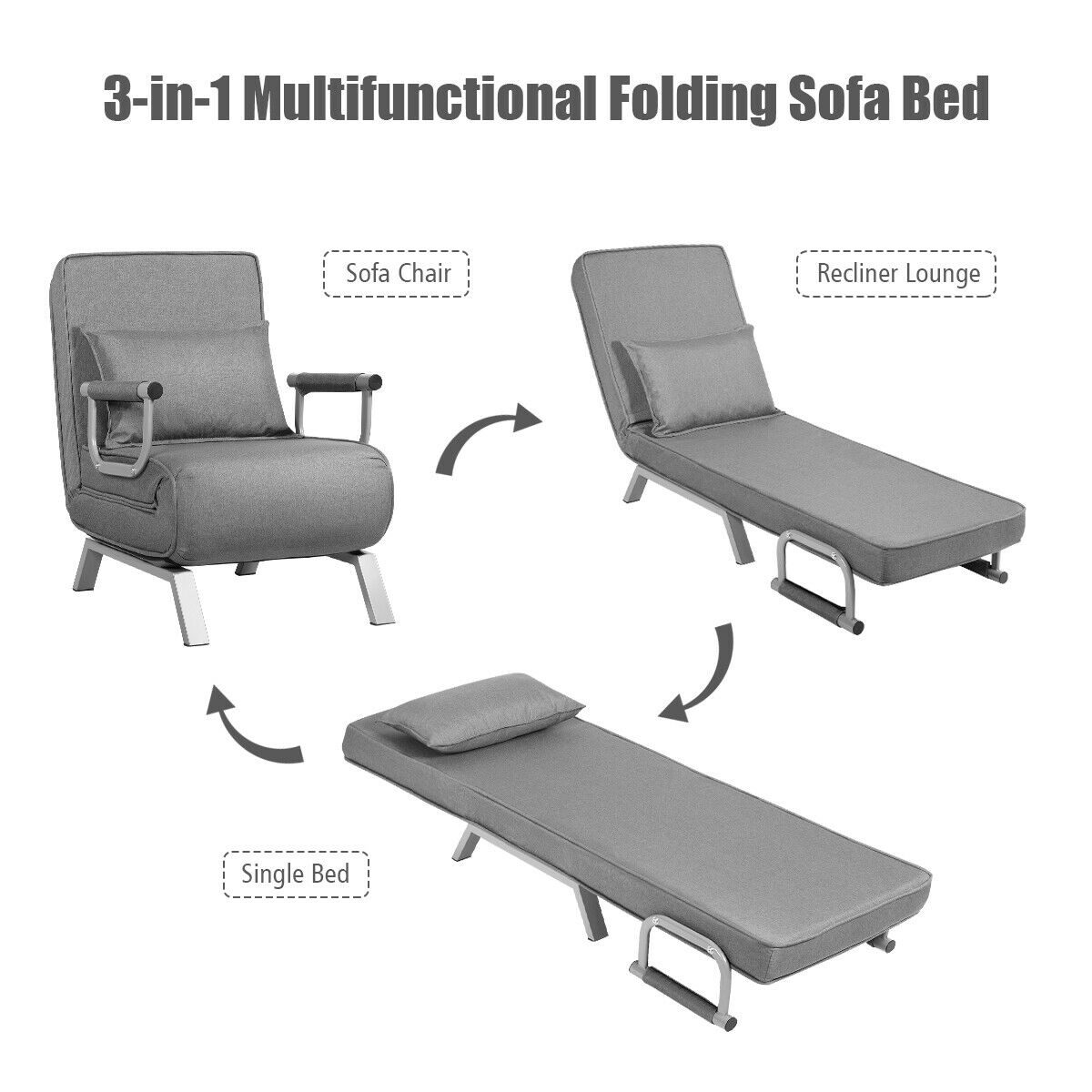 - Gymax 5 Position Convertible Sofa Chair Folding Sleeper Bed W