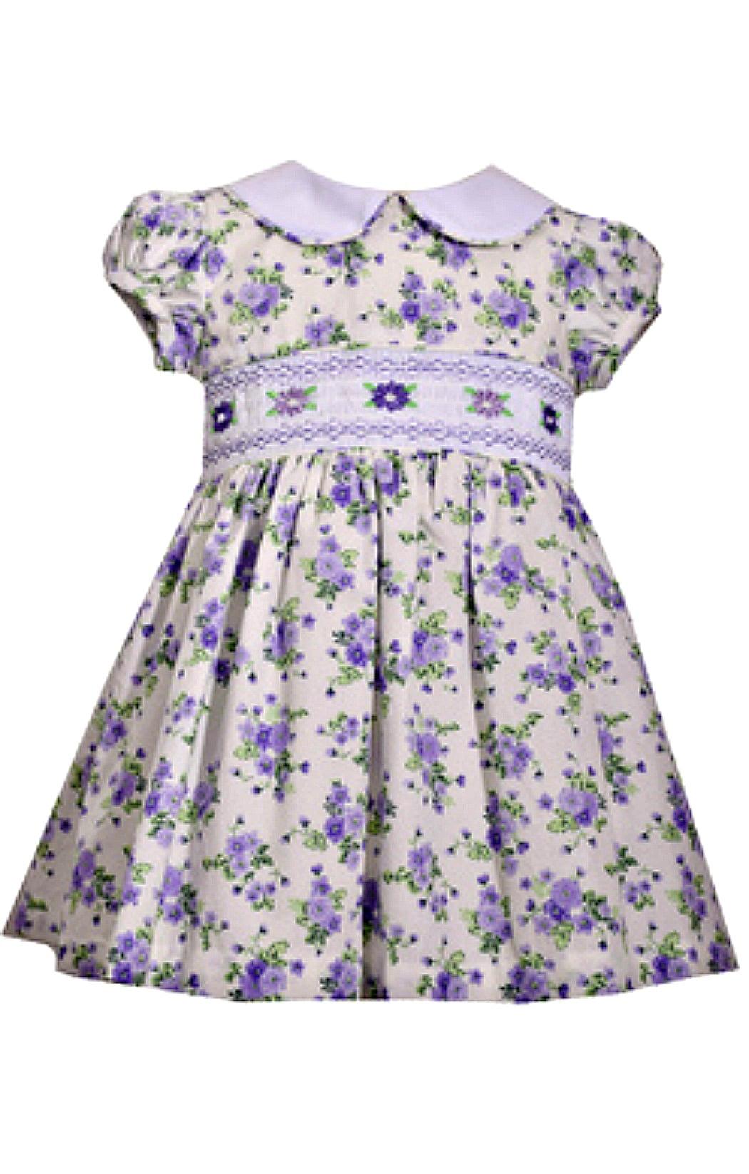 Infant Baby Girls Lavender Floral Smocked Dress 18 months - Walmart.com