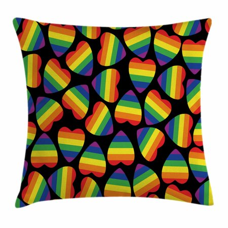 Pride Decorations Throw Pillow Cushion Cover, Set of Colorful Heart Shapes with Gay Parade Flag Inside Black Backdrop, Decorative Square Accent Pillow Case, 16 X 16 Inches, Multicolor, by Ambesonne