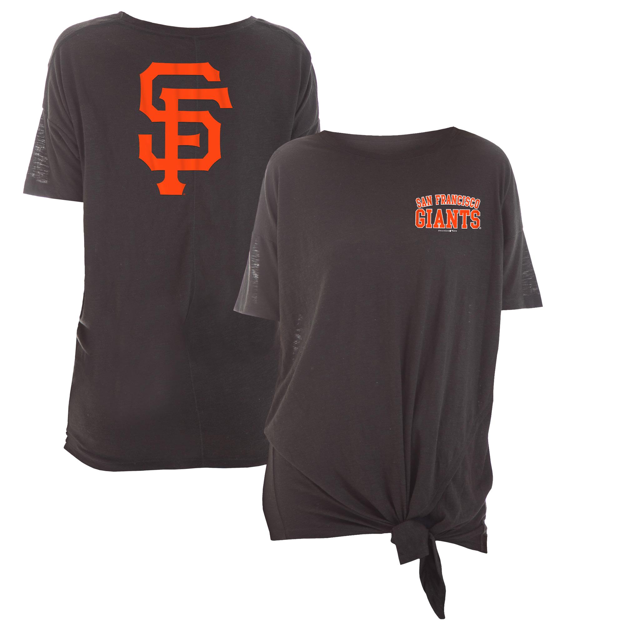San Francisco Giants New Era Women's Scoop Neck Side Tie T-Shirt - Black