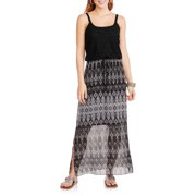 Faded Glory Women's Lace Bodice Knit and Woven Maxi Dress