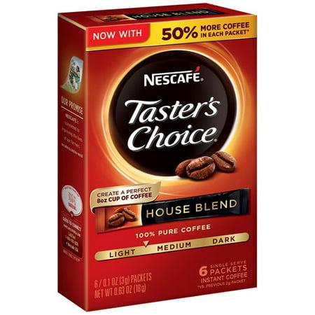 (5 Pack) NESCAFE TASTER'S CHOICE House Blend Medium Light Roast Instant Coffee 6-0.1 oz. - Nescafe Blend