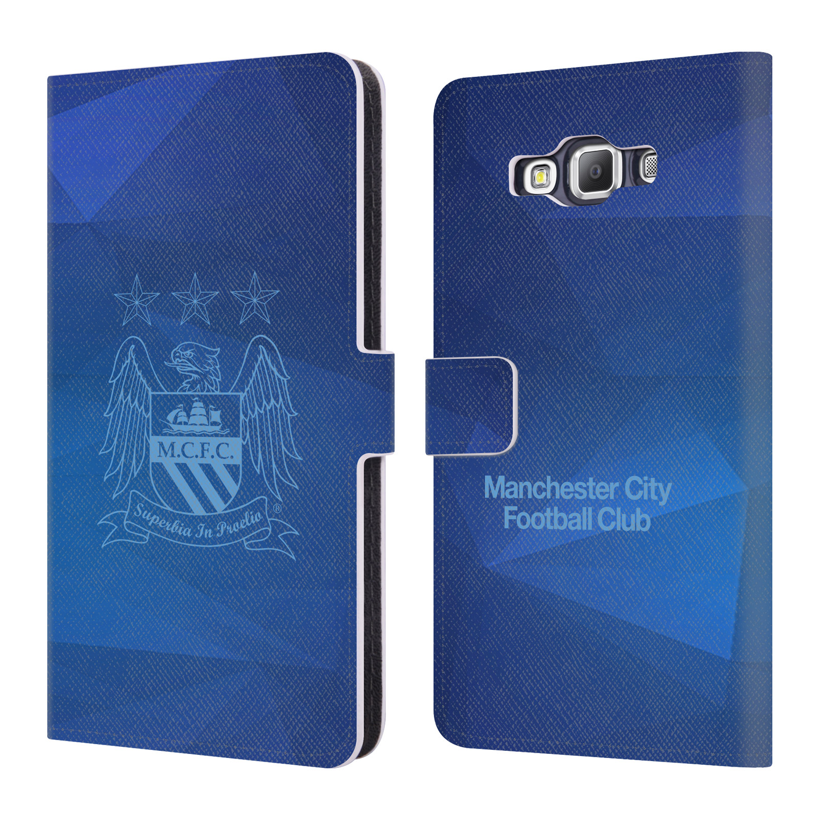OFFICIAL MANCHESTER CITY MAN CITY FC CREST GEOMETRIC LEATHER BOOK WALLET CASE COVER FOR SAMSUNG PHONES 2