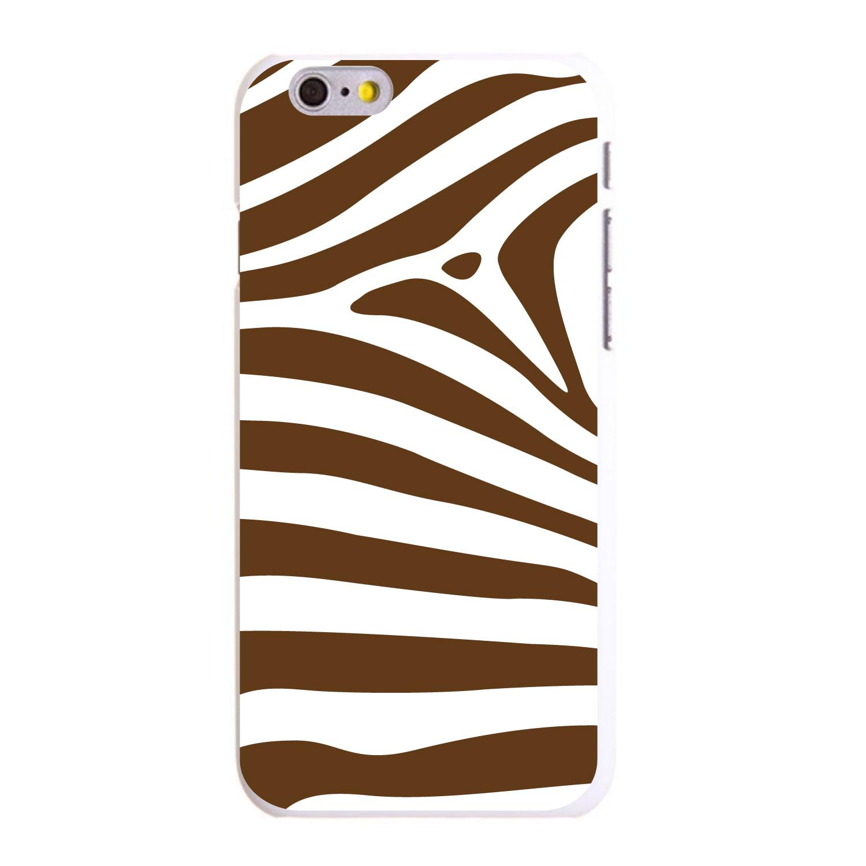 """CUSTOM White Hard Plastic Snap-On Case for Apple iPhone 6 / 6S (4.7"""" Screen) - Brown & White Zebra Skin Stripes"""