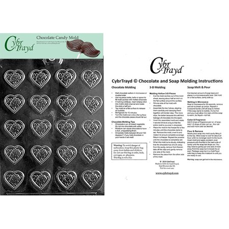 Bite Size Rose Heart Mint Valentine Chocolate Candy Mold with Exclusive Cybrtrayd Copyrighted Molding