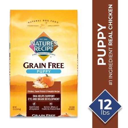 Nature's Recipe Grain Free Chicken, Sweet Potato & Pumpkin Recipe Dry Dog Food for Puppies, 12