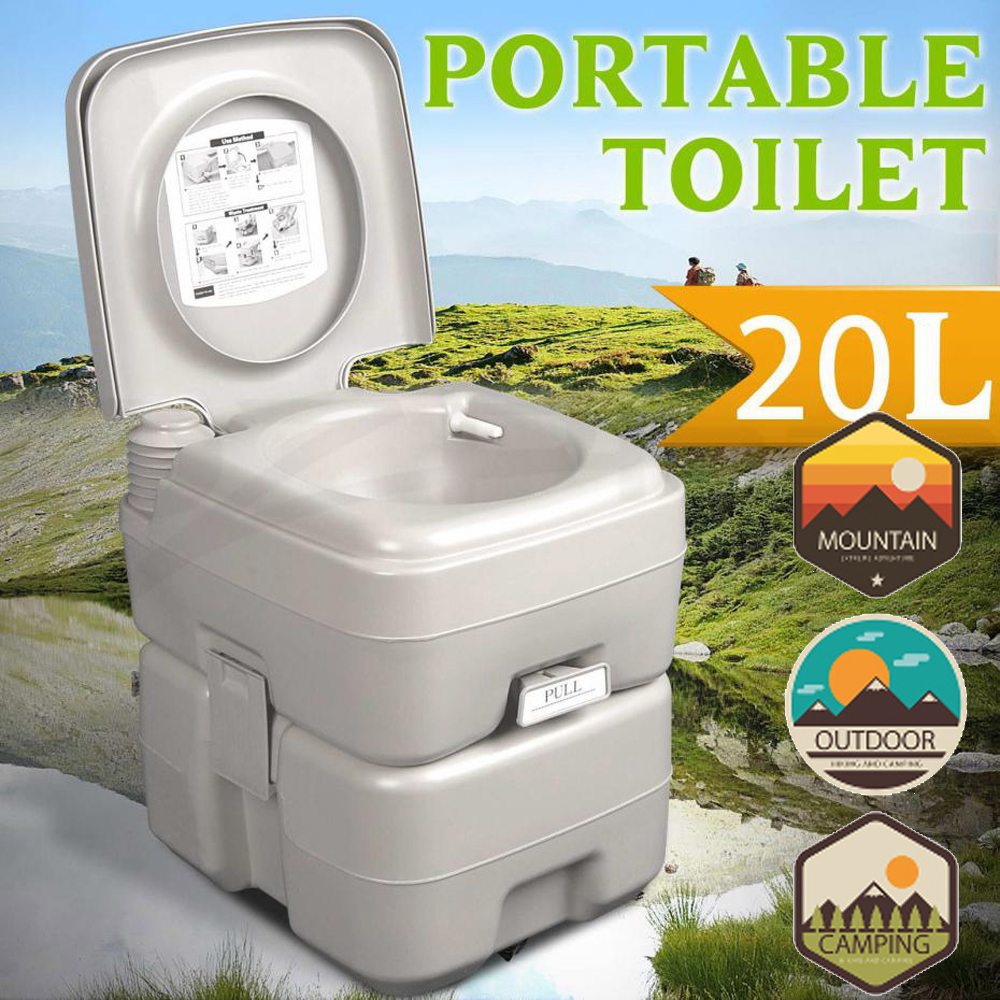 Zimtown Removable Camping Camper Motorhome Flushing Toilet 20L 5 Gallon WC Commode... by